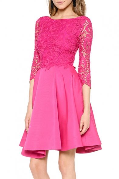Elegant Lace Patchwork 3/4 Length Sleeve Plain Mini A-Line Dress