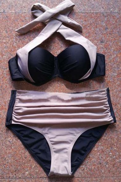 Sexy Halter Color Block Bikini Swimwear