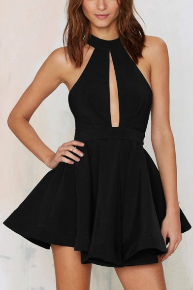 43eacc9d417e ... Sexy Halter Cutout Front Hollow Mesh Back Sleeveless Plain Mini Party  Dress ...