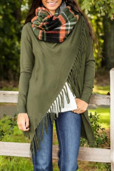 Fashion Tassel Single Button Long Sleeve Crew Neck Plain Asymmetric Outwear