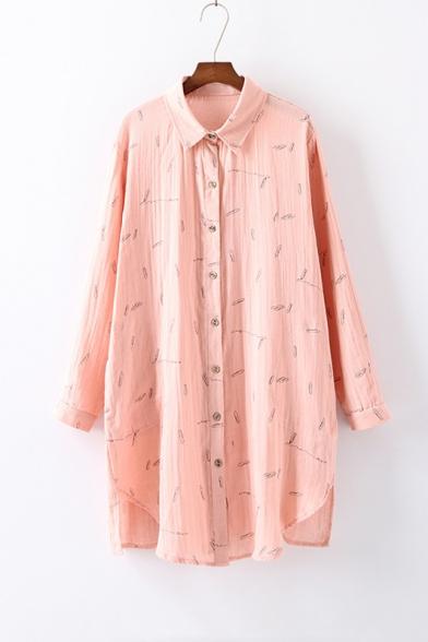 621fa17493b Lapel Collar Long Sleeve Printed Asymmetrical Trim Linen Shirt Dress -  Beautifulhalo.com