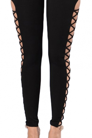 Sexy Cutout Crisscross Sides High Waist Springy Sport Leggings