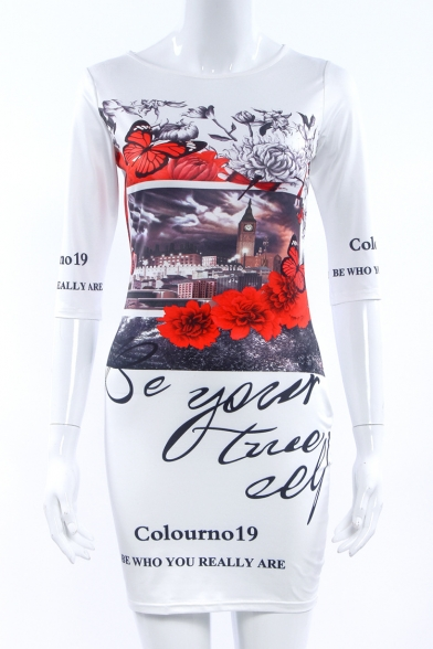 Women's Half Sleeve Floral Letter Printed Color Block Mini Pencil Dress