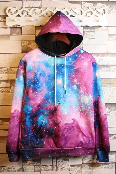 Fashion Galaxy Printed Drawstring Hooded Hoodie Sweatshirt with A Kangaroo Pocket