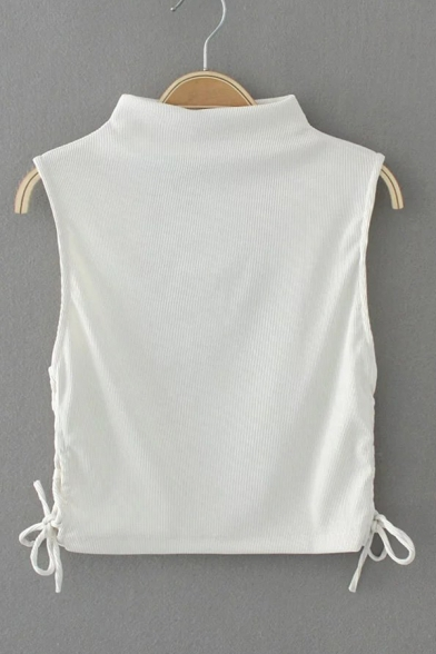 dbb3b982d686b2 ... New Arrival Tied Sides Sleeveless Half High Neck Cropped Plain Pullover  Sweater ...