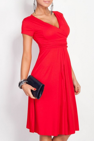 ... Elegant Plunge Neck Cap Sleeve Solid Color Gathered Waist A-Line Midi  Dress ... 99d32bbc2