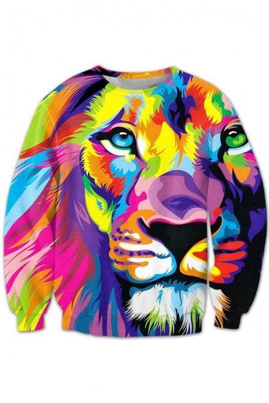 Sleeve Color Sweatshirt Fashion Neck Block Round Printed Long Lion Pullover Hww0TdSq
