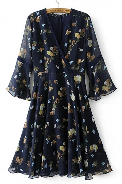 Floral Printed Plunge Neck Flare Sleeve A-Line Wrap Midi Dress