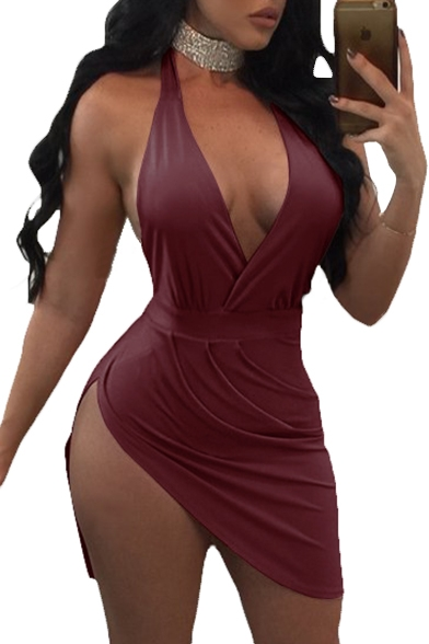 New Fashion Halter Neck Plunge Neck Sleeveless Side Slit Open Back Mini Dress