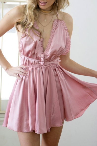 Sexy Crisscross Open Back Sleeveless Halter Plain Rompers