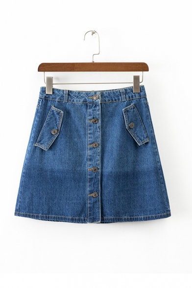 Summer's Plain Single Breasted Denim A-Line Mini Skirt with ...