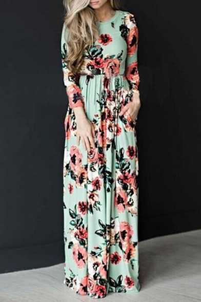 Round Maxi Chic Long Floral Women's Printed Neck Sleeve Dress fAqXqvxw7