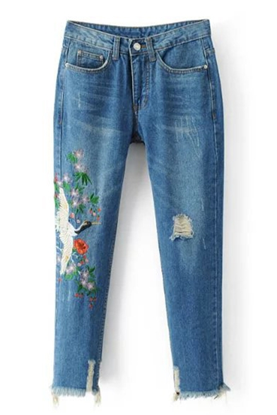 Embroidery Crane Floral Pattern Ripped Destroyed Cuffs Mid Waist Jeans