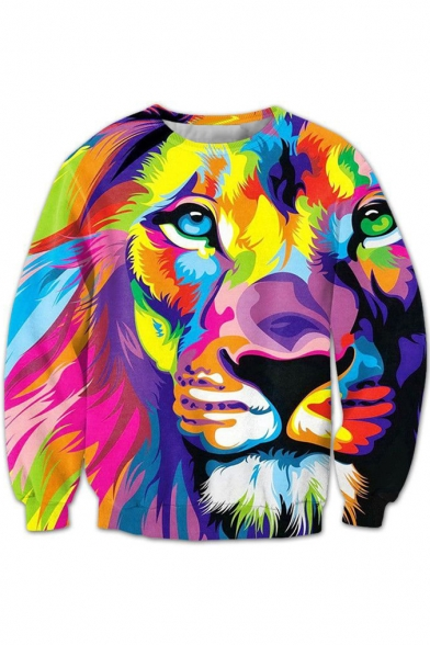 Fashion Color Block Lion Printed Round Neck Long Sleeve Pullover Sweatshirt