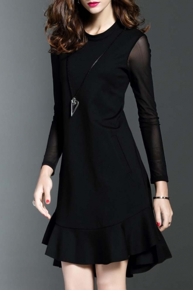 Glamorous Chic Asymmetric Ruffle Hem Long Sleeve Round Neck Plain Party Dress
