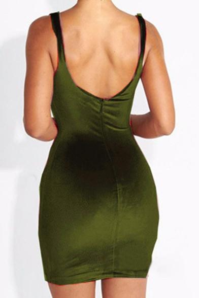 Summer's Sexy Spaghetti Straps Plain Bodycon Mini Slip Dress