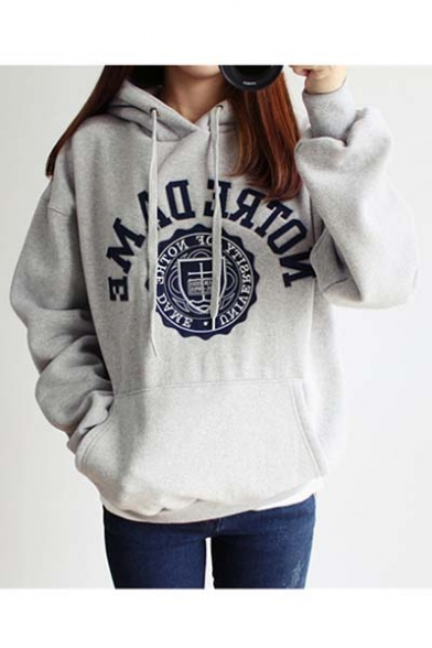 Long Style Oversize Embroidered Basic Letter Hoodie Boyfriend Sleeve qaUfzZxE