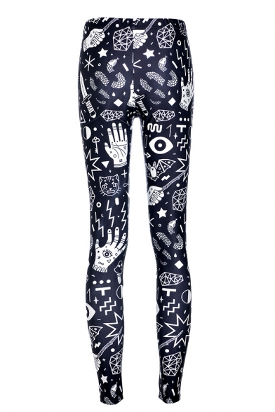 Color Block Graffiti Printed Fashion Leggings