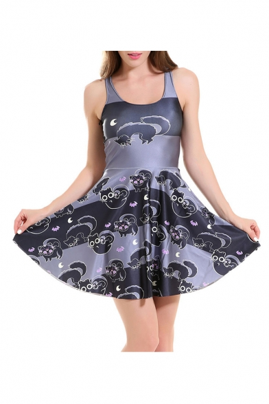 Digital Cat Printed Scoop Neck Sleeveless A-Line Mini Skater Dress