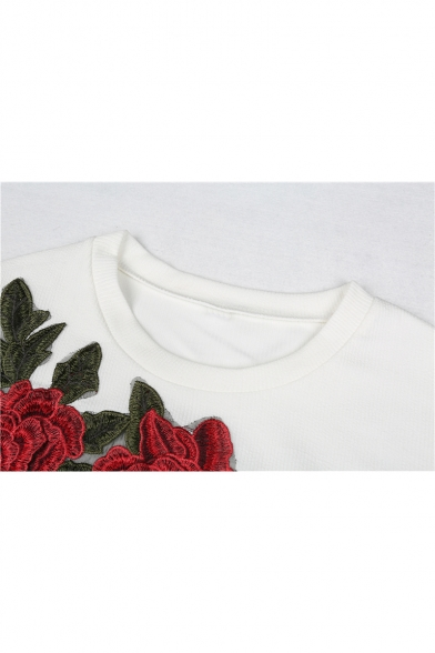 Cotton Round Sleeve Embroidered Pullover Neck Tee Floral Long Cropped wqqxX4a