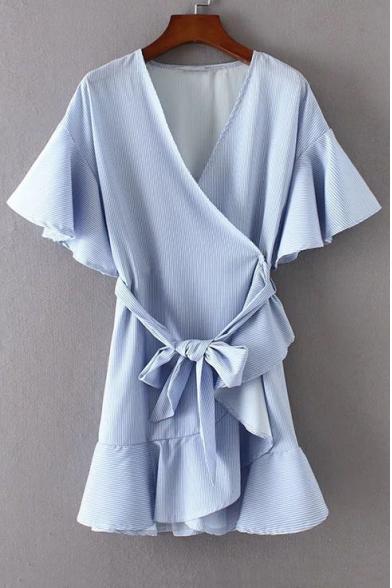 b3d91a9cdf V Neck Short Sleeve Ruffle Hem Tie Waist Striped Printed Mini Wrap Dress ...
