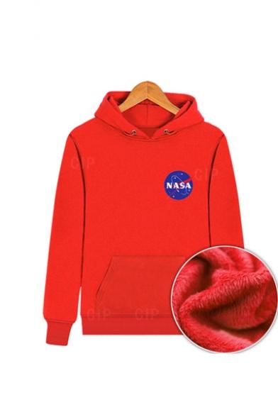 Chic NASA Logo Printed Drawstring Hooded Long Sleeve Hoodie Sweatshirt with One Pocket