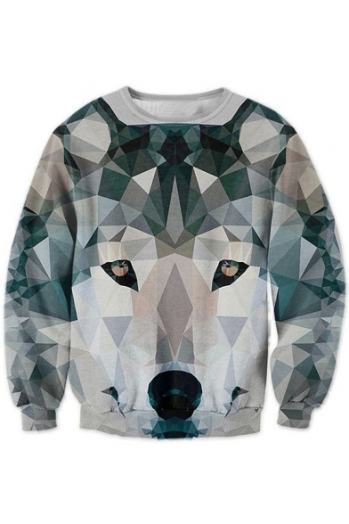 Digital Color Block Wolf Printed Round Neck Long Sleeve Pullover Stylish Sweatshirt