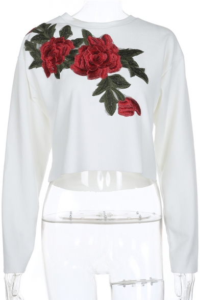 Round Neck Long Sleeve Floral Embroidered Cotton Pullover Cropped Tee