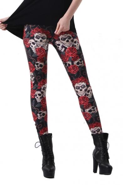 Women's Fashion Floral Skull 3D Printed Leggings