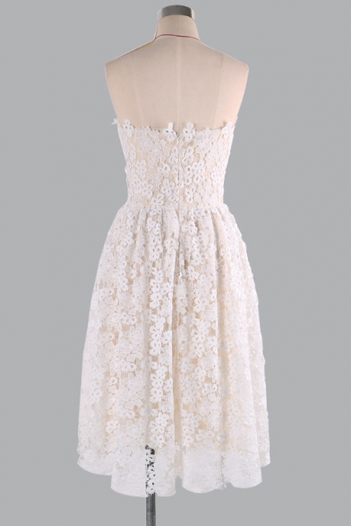 Chic Sexy Sleeveless Lace Overlay Plain Mini Tube Dress