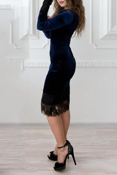 Elegant Chic Lace Patchwork Boat Neck Long Sleeve Plain Midi Bodycon Dress