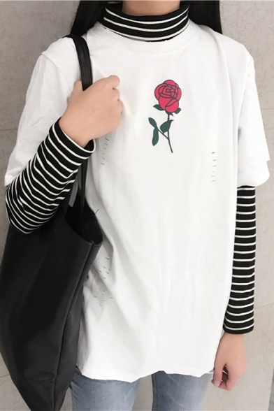 Sleeve Round Out Hollow with Floral Neck Printed Short Fashion Tee XwZt8Xq