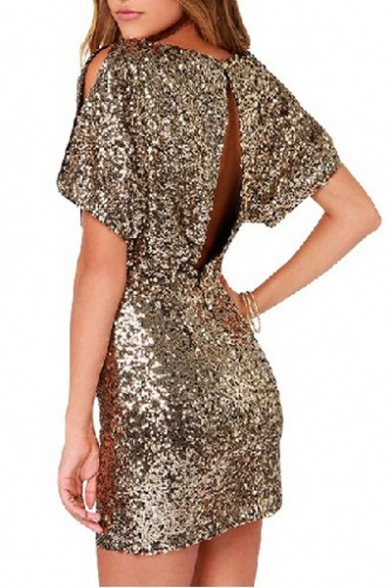 New Sexy Split Back Short Sleeve Sequined Mini Bodycon Dress