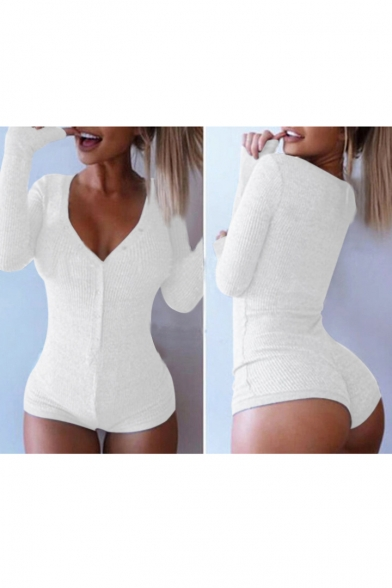 Sexy Plunge V-Neck Long Sleeve Plain Rompers