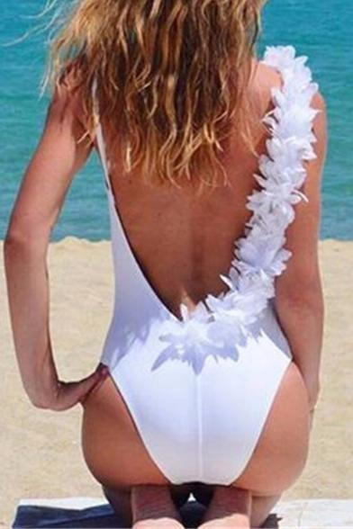 Women's Open Back Patched Shoulder Plain One Pieces Swimsuit