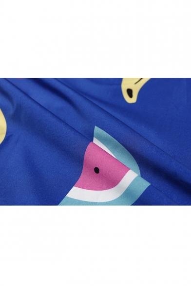 Cartoon Fruit Printed Lapel Collar Long Sleeve High Low Hem Leisure Shirt