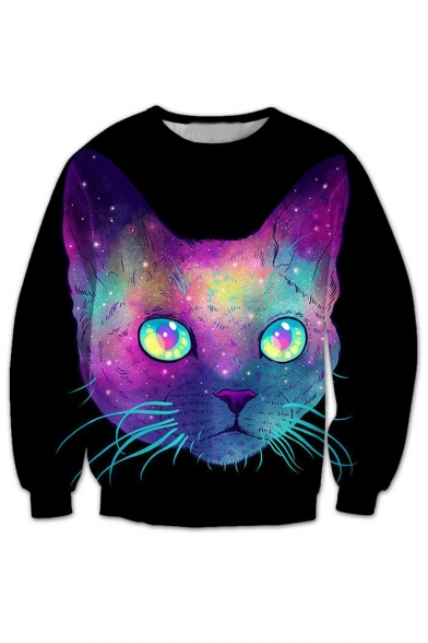 Hot Fashion 3D Cartoon Cat Printed Round Neck Long Sleeve Pullover Loose Sweatshirt