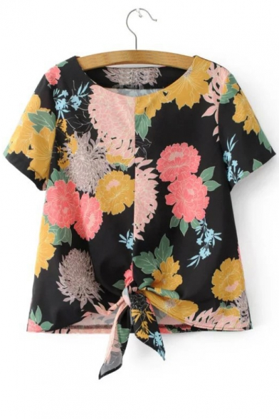 Contrast Floral Printed Short Sleeve Knotted Hem Round Neck Top