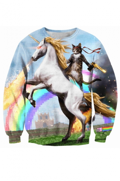 Sweatshirt Cat Round Pullover Long Fashion Sleeve Neck Digital Loose Horse Printed tCPwqdvd