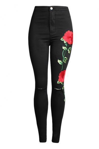Skinny Embroidery Floral Pattern Broken Knees High Waist Jeans