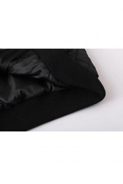 Sleeves Pattern in Fashion Placket Raglan Crane Bomber Embroidery Zipper Jacket tEaWwqX