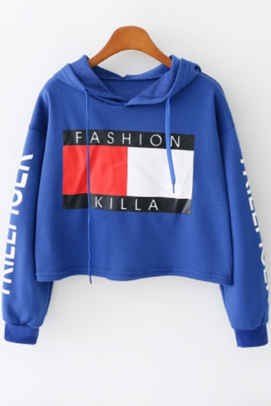 Fashion Letter Printed Long Sleeve Casual Sports Dancing Cropped Hoodie