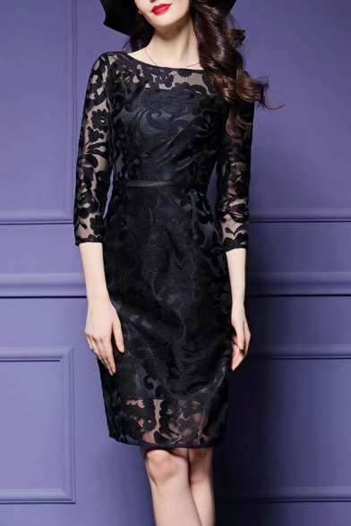 Glamorous Chic Lace Patchwork 3/4 Length Sleeve Zip-Back Midi Party Dress
