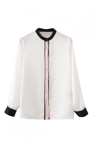 New Fashion Basic Stand-Up Collar Long Sleeve Contrast Cuff Buttons Down Shirt