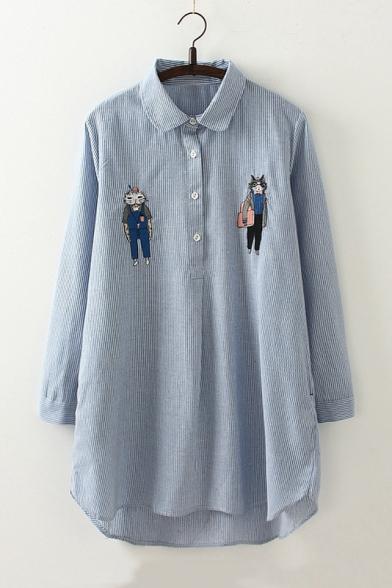 3624a11d Women's Cartoon Embroidery Cat Pattern Long Sleeve Lapel High Low Hem Tunic  Button Down Shirt