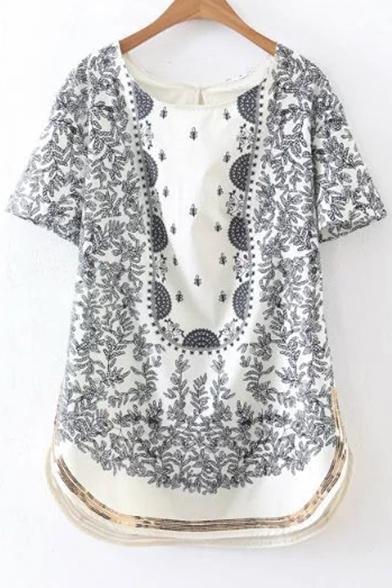 Fashion Round Neck Keyhole Back Short Sleeve Sequined Hem Printed Mini Dress