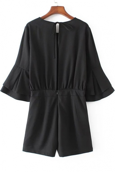 Fashion Split Zip-Back Double Layered Bell Sleeve Plain Rompers