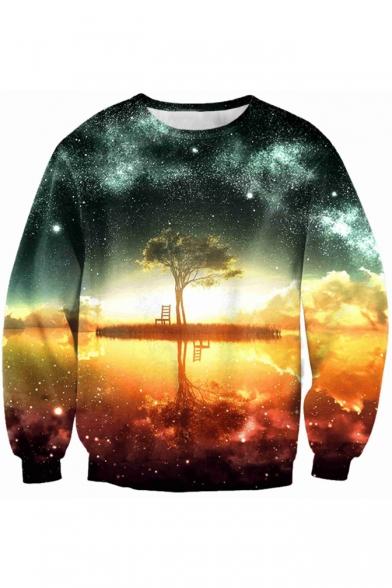 Galaxy Trees Shadow Printed Round Neck Long Sleeve Pullover Leisure Sweatshirt