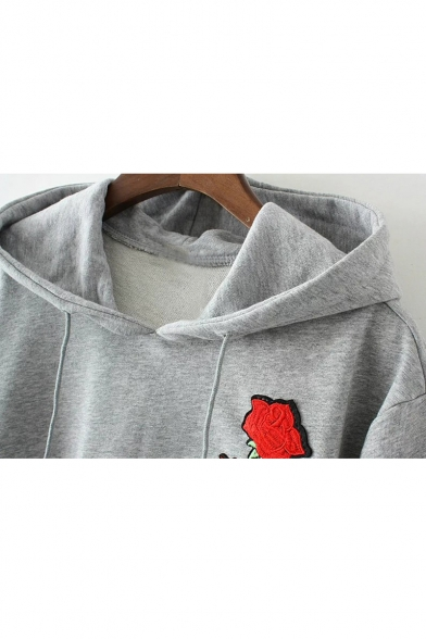 New Fashion Rose Embroidered Long Sleeve High Low Hem Casual Hoodie