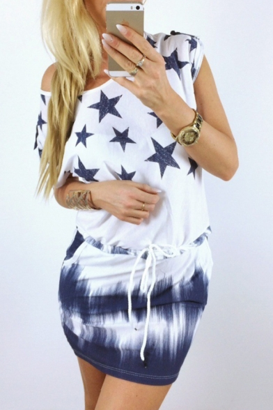 Star Printed One Shoudler Short Sleeve Drawstring Waist Mini Dress